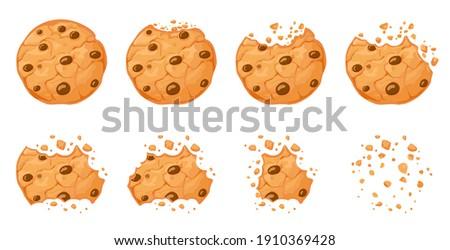 Bitten chocolate chip cookie. Crunch homemade brown biscuits broken with crumbs. Cartoon baked round choco cookies bite animation  set. Illustration animation disappear choco crumb piece bakery