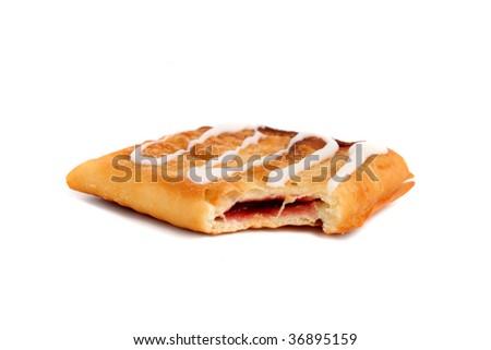 Bitten flaky strawberry pastry strudel with sweet frosting isolated on a white background