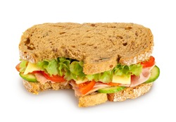 Bitten fresh sandwich (whole grain bread) on white background. Clipping path included