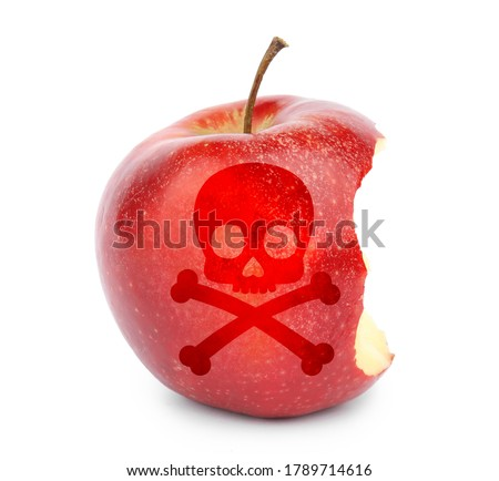 Bitten poison apple with skull and crossbones image on white background Сток-фото ©