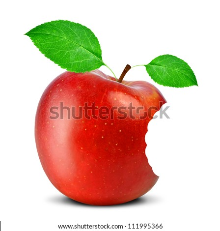 bitten red apple isolated on white
