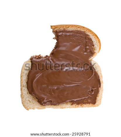 Bitten slice of bread covered with Hazelnut and chocolate spread