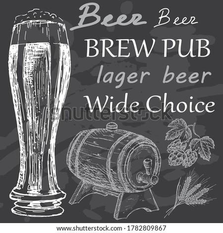 Bitter beer set. Sketches hand drawn illustration background. Flyer, booklet advertising and design. Line art style. Raster copy.