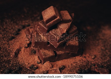 Bitter chocolate on a dark background with cinnamon