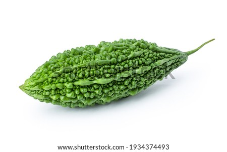Bitter gourd or bitter melon ( Momordica Charantia ) isolated on white background. Clipping path. Foto stock ©