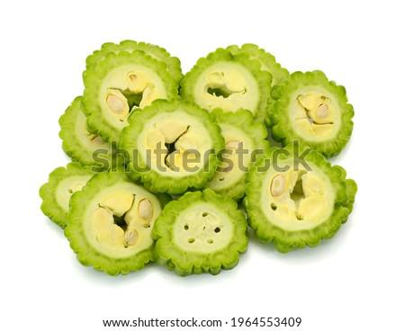 bitter melon, bitter gourd, bitter squash fruit isolated on white background