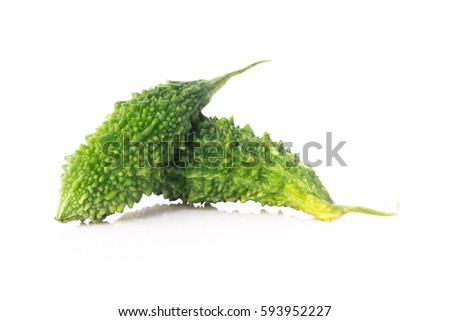 Shutterstock Bitter melon isolated - Bitter melon fresh organic green herb or vegetable, often called balsam pear, bitter cucumber or bitter cucumber with isolated on white background.