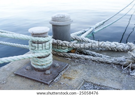 Bitts and mooring lines on a quay.