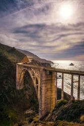 Bixby Bridge and Pacific Coast Highway near Big Sur in California, USA