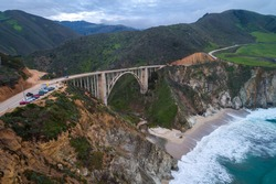 Bixby Creek Bridge also known as Bixby Canyon Bridge, on the Big Sur coast of California, is one of the most photographed bridges in California