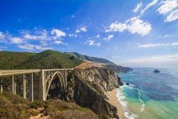 Bixby Creek Bridge in Big Sur, CA, USA towards the south