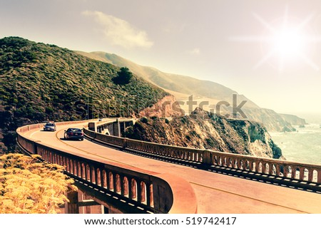 Bixby Creek Bridge on Highway #1 at the US West Coast traveling south to Los Angeles, Big Sur Area #519742417