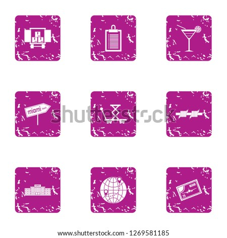 Biz delivery service icons set. Grunge set of 9 biz delivery service icons for web isolated on white background