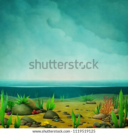 Bizarre fantasy nature illustration of  sea floor and sky.