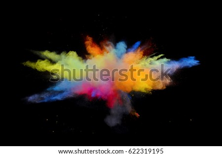 Bizarre forms of powder paint and flour combined  exploding in front of a black background to give off fantastic colors and forms. Foto d'archivio ©