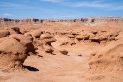 Bizarre mushroom shaped hoodoo rock formations in Goblin Valley State Park Utah