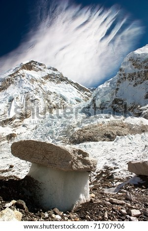 "Bizarre ""mushrooms"" on a glacier on the way to Everest Base Camp"