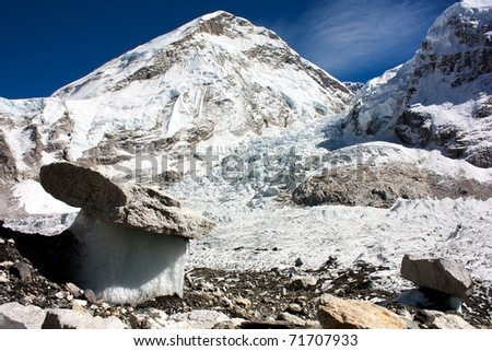 "Bizarre ""mushrooms&quo t; on a glacier on the way to Everest Base Camp - stock photo"