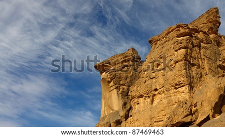 Bizarre sandstone rock formations in the Akakus Mountains, Sahara Desert, Libya