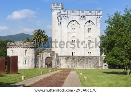 BIZKAIA, SPAIN - MAY 28: The neo-gothic castle of Arteaga inspired in French gothic architecture, on May 28, 2015 in Bizkaia, Spain