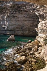 Bizzare Chalk cliffs below Village of Bonifacio, Corse, France