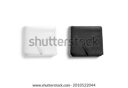 Blaank black and white folded towel with deferred corner mockup, 3d rendering. Empty soft washcloth or micorfiber mock up, isolated, top view. Clear cloth or cotton terry for hygiene template. Stockfoto ©