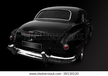 Black a retro the car on a white background