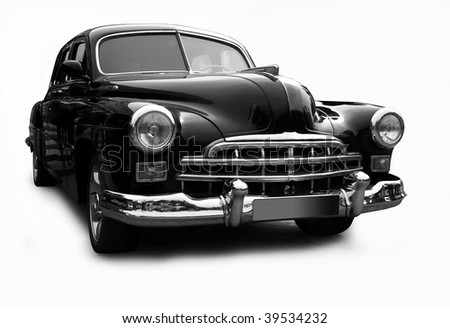 Black a retro the car on a white background. Isolated