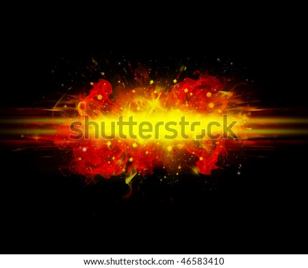 black abstract background with red flame explosion - stock photo