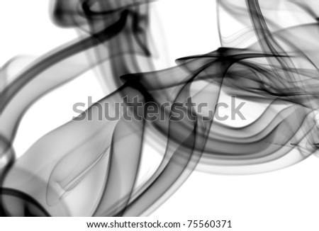 Black Abstract fume patterns over the white background