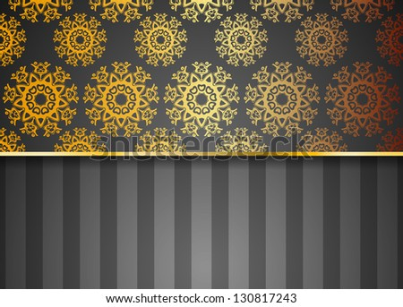 black abstract raster business background for card or site with gold flower