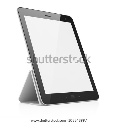 Black abstract tablet computer (pc) on white background, 3d render