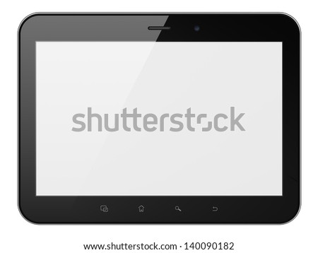 Black abstract tablet computer (tablet pc) on white background, 3d render. Modern portable touch pad device with white screen. Extra-high real resolution.
