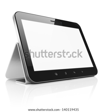Black abstract tablet computer tablet pc with stand on white background 3D render Modern portable touch pad device with white screen