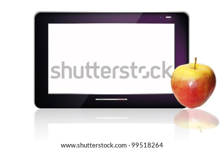 Black  abstract tablet pc on white background - stock photo