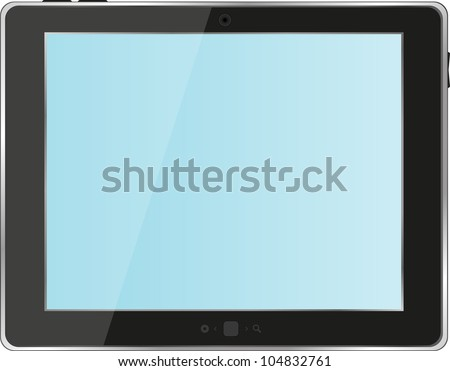 Black abstract tablet pc on white background. raster
