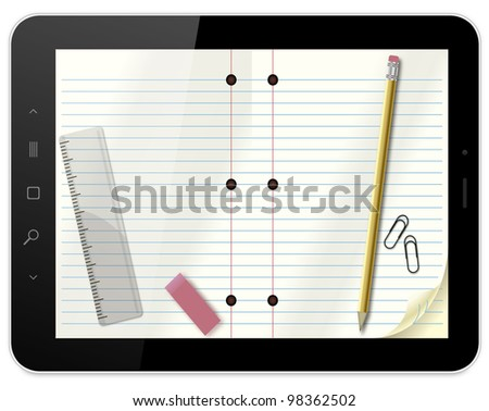 Black abstract tablet pc with notebook like wallpaper on white background