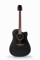 black acoustic guitar isolated on the white