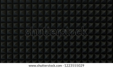 Black Acoustic Panels Studio Foam Wedges ,Sound proofing panel, Sound Absorption 3d render. pattern and texture graphic background in CGI.