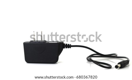Black adapter charger on isolate background