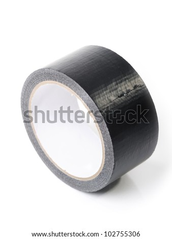 Black adhesive tape isolated on white background - stock photo