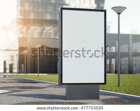Black advertising stand on a street with modern office building. 3d rendering