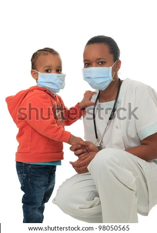 Black African American nurse with child isolated metisse stethoscope infirmiere