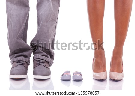 Black african american parents waiting for a baby, isolated on white background - African people