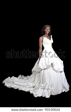 stock photo Black African American Woman Bride in a wedding dress
