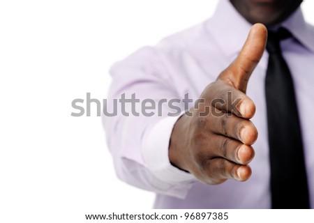 Black african businessman handshake to show business agreement