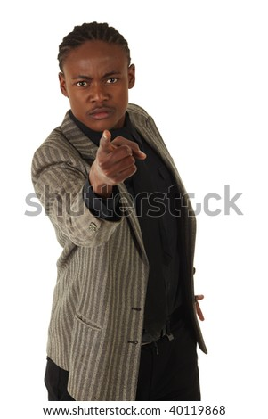 Black African businessman on a white background in various positions, stances and with various facial expressions. Part of a series - NOT ISOLATED