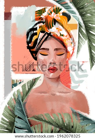Black African  girl is wearing a tropical print turban. Self-confident young woman with brown skin in traditional headdress portrait front view.  Stockfoto ©