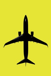 Black airplane silhouette on a yellow background.