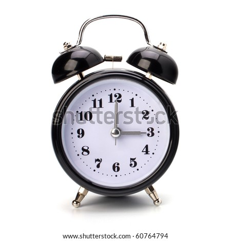 Black alarm clock isolated on white background
